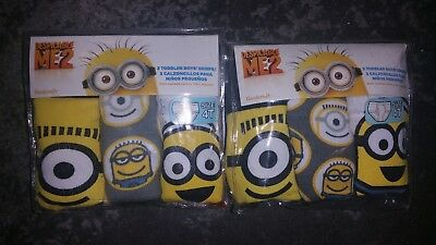 2 NEW 3 packs of  Minions  ~ Despicable Me underwear  2T/3T or 4T