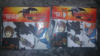 2 NEW 3 packs of  Dreamworks How to Train your Dragon underwear  2T/3T or 4T