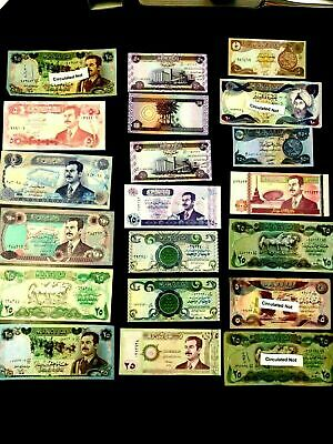 UNC SADDAM HUSSEIN IRAQ/IRAQI DINAR PAPER MONEY BANKNOTE LOT (17 Nots).***