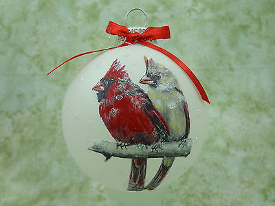 B001 Hand-made Christmas Ornament - bird birds - pair cardinals red male female