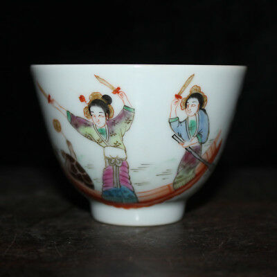Chinese Old Marked Famille Rose Colored Character Story Pattern Porcelain Cup