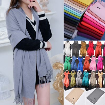 Women's Oversized Cashmere Wool Solid Scarf Wraps Warm Blanket Ladies Color Gift