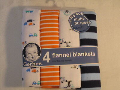 Gerber 4 Flannel Receiving Blankets, Puppies, Cars, Blue, Orange, White Stripes