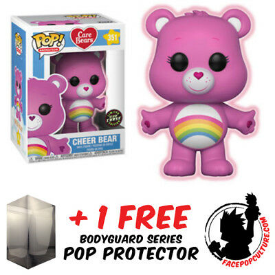 Funko Pop Care Bears Cheer Bear Glow Chase Piece Exclusive - Pop Protector
