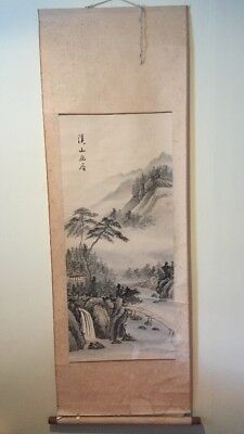 Vintage Antique ? Chinese Watercolour Paper Scroll  Waterfall Landscape Script