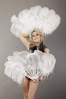 White A pair Single layer Ostrich Feather fans with Travel leather Bag