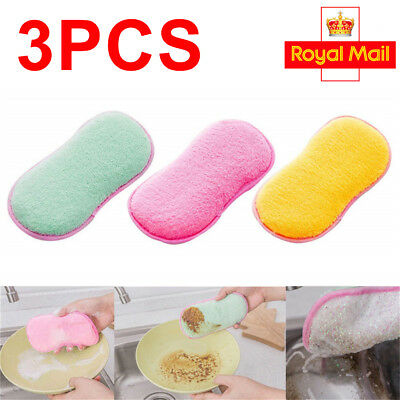3pcs Kitchen Cleaning Scouring Pads Double Sided Antibacterial Scrubbing Sponges