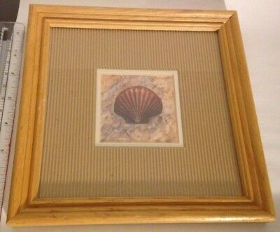 "Vintage SEA SHELL PICTURE MAT WOOD FRAME 7"" X 7"" BEACH HOUSE DECOR"