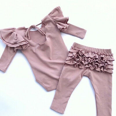 US Newborn Toddler Baby Girl Fly Sleeve Tops Romper Ruffle Pants Outfits Clothes