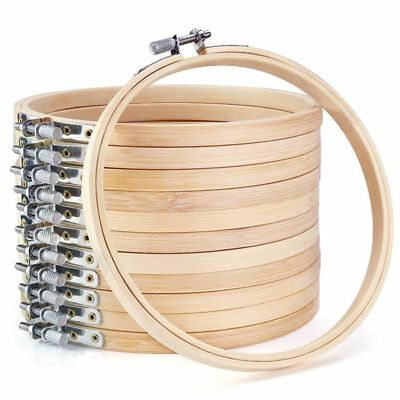 12 Pieces 6 Inch Wooden Embroidery Hoops Bulk Wholesale Bamboo Circle Cross S M7