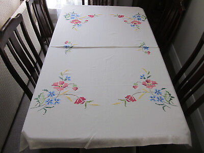 Beautiful Hand Embroidered Semco Floral Cross Stitch Tablecloth