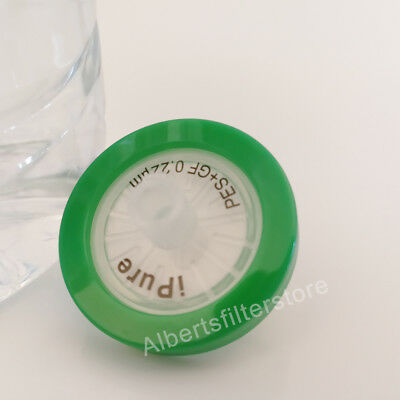 10pcs PES Nonsterile Syringe Filter,0.22μm,25mm,Lab Supply,Glass Fiber Prefilter