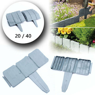 20/40Pcs Garden Border Edging Cobbled Effects Plants Hammer-In Lawn Palisade Fen