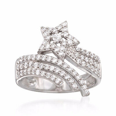 0.82 Ct Round Cut Natural Diamond 14k White Gold Cluster Ring Free Size