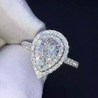 3.50 TCW Diamond Pear & Round Cut 10k Real White Gold Halo Engagement Ring