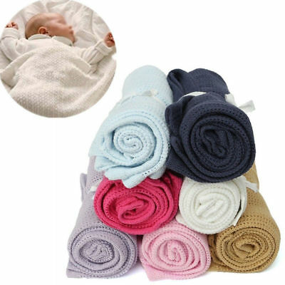 Large Cotton Cellular Soft Baby Blanket Pram Cot Bed Moses Basket Crib 70 x 90cm