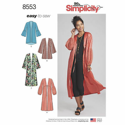 Simplicity Sewing Pattern 8553 Misses 4-26 Easy-to-Sew Kimonos Jacket Top Robe