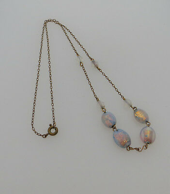 Bead Necklace - Rainbow Opal Effect / Foil / Czech / Glass / Art Deco Interest ?