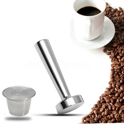 Reusable Stainless Steel Refillable Coffee Capsule Pod + Tamper For Nespresso