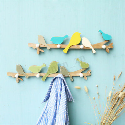 Wooden Bird Wall Mount Hanger Hook Rack Clothes Key Organizer Home Room Decor AU