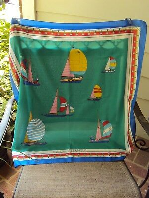 Vintage Green Red Blue & White Nautical Scarf (Italy) 30X30 Inches