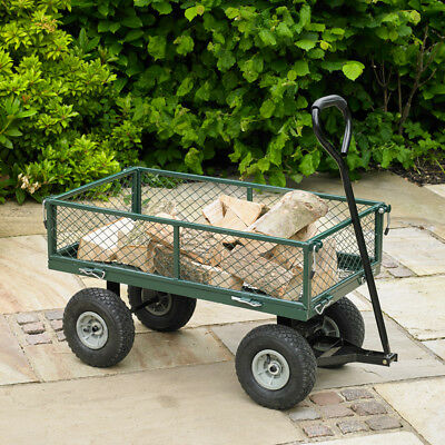 Wido 100 LITRE GREEN 4 WHEEL HEAVY DUTY GARDEN CART WHEELBARROW UTILITY TRUCK