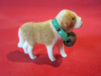 Antique vintage miniature putz flocked St. Bernard dog figurine