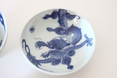 antique japanese imari bowl blue and white dragon