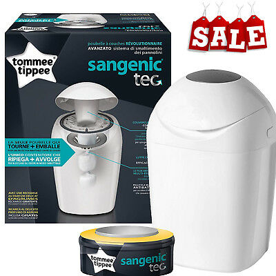 Tommee Tippee Sangenic Tec Nappy Disposal Tub Bin with Refill Cassette White New