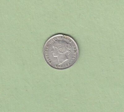 1880-H Canadian 5 Cents Silver Coin - Fine (Cleaned)