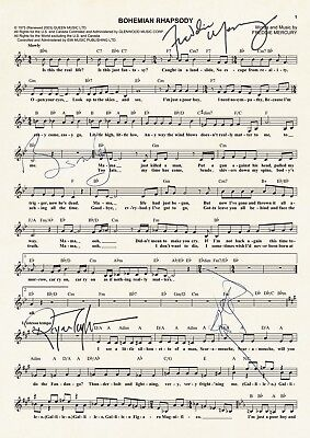 QUEEN BOHEMIAN RHAPSODY MUSIC SHEET Signed Autograph Photo Prints A4 769