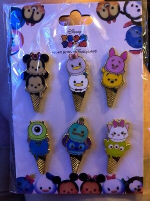 TSUM TSUM Hong Kong Disney 6  ICE CREAM CONES Booster Pin Set NEW 100% Authentic
