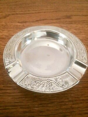 Vintage Sterling Silver Circular Ashtray Dish - Birmingham 1930. Good Weight 65g