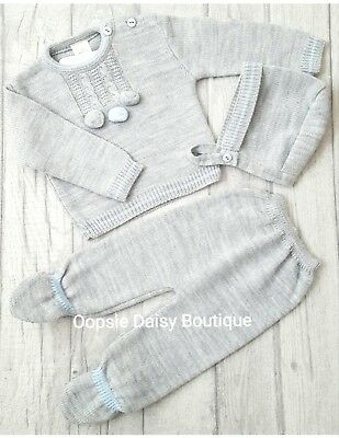 Boys Gorgeous Grey Spanish Knitted Pom Pom Suit with Matching Bonnet upto 18mth
