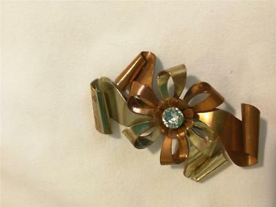 Great Looking Vintage Copper & Brass Pin Brooch Large Rhinestone Flower Bows