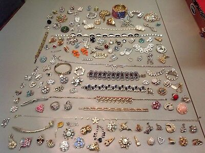 VINTAGE RHINESTONE BROKEN Pins Brooches For Crafting Lot Of 21