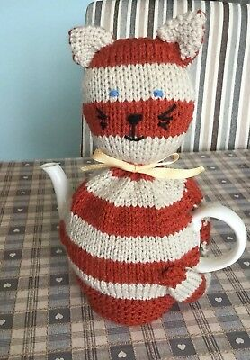 Hand Knitted Cat Tea Cosy To Fit A Medium Teapot