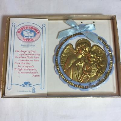 New in Box Vintage Guardian Angel 1988 Roman, Inc. Baby Cradle Medal for Boy
