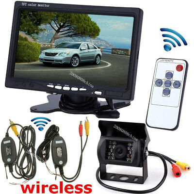 """Vehicle Wireless IR Rear View Backup Camera+7"""" HD Monitor for RV Truck Trailer"""