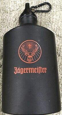 Jagermeister Black Aluminum Flask with Carabiner Clip