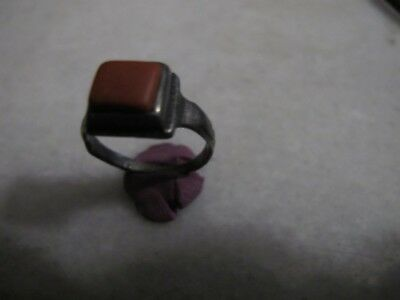 Antique  Medieval Silver Ring With Red Jasper Stone