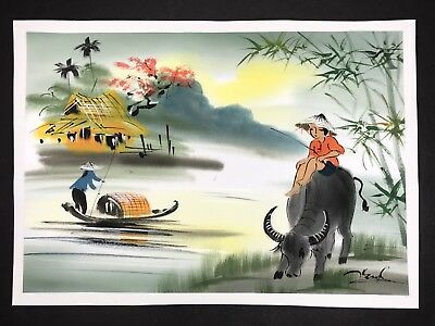 Japanese Watercolor Painting on Silk Water Landscape Signed Chinese Asian Art