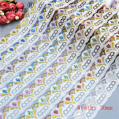 Wholesale 10 Yards 30MM Width Handcrafts Embroidered Lace Ribbon For Sewing