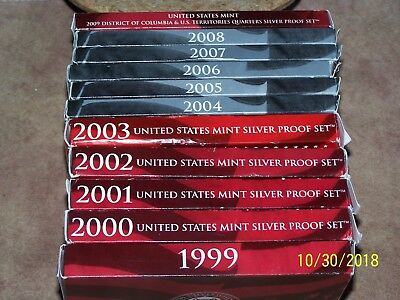 Complete Set 1999-2008+2009 US 90% SILVER PROOF State Quarter Set & tera 56 coin