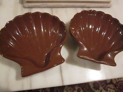 Lot of Two Vintage Hall China Brown Clam Shell Baking Dishes 230 Made in USA