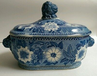 Small Antique Blue and White Transfer Printed Tureen by Rogers, Burslem c.1820