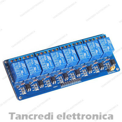Scheda 8 relè 12Vdc Relay Shield Arduino Optoisolatori 12V modulo 2 canali led