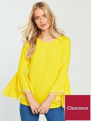 V by Very RRP £25 Frill Sleeve Lace Insert Top - Yellow