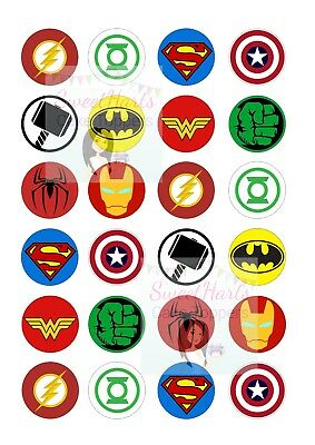 Superhero Logo Cupcake Toppers Marvel Edible Decorations Buy1 Get1 Half Price