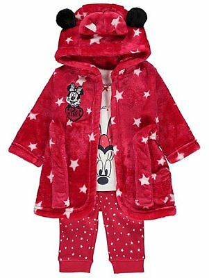 Baby Girls 3 Piece Disney Minnie Mouse Fleece Dressing Gown & Pyjamas 0-24 MONTH